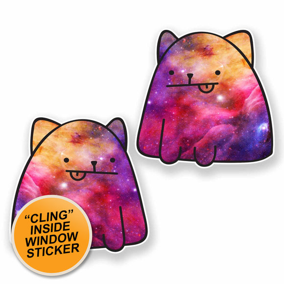 2 x Interstellar Cat WINDOW CLING STICKER Car Van Campervan Glass #9657
