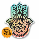 2 x Hamsa Hand WINDOW CLING STICKER Car Van Campervan Glass #9662