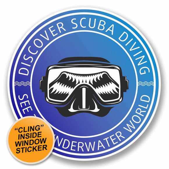 2 x Scuba Diver WINDOW CLING STICKER Car Van Campervan Glass #9668