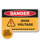 2 x Danger High Voltage WINDOW CLING STICKER Car Van Campervan Glass #9672