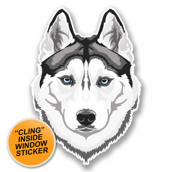 2 x White Husky Wolf WINDOW CLING STICKER Car Van Campervan Glass #9674