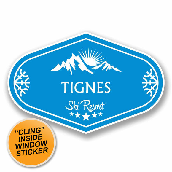 2 x Tignes Ski Snowboard WINDOW CLING STICKER Car Van Campervan Glass #9675