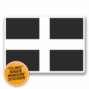2 x Cornwall Cornish Flag WINDOW CLING STICKER Car Van Campervan Glass #9683