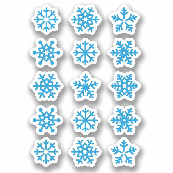 A4 Sheet 15 x Blue Snowflake Vinyl Stickers Christmas Window Decoration #9697