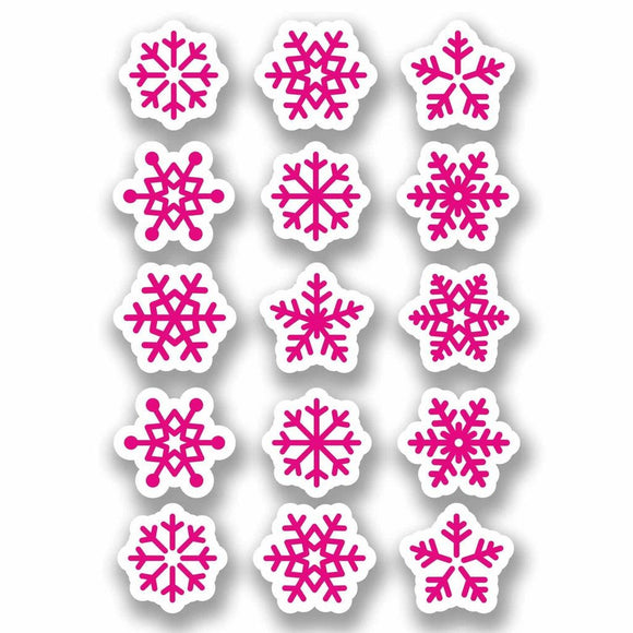 A4 Sheet 15 x Pink Snowflake Vinyl Stickers Christmas Window Decoration #9698