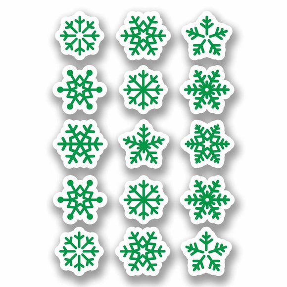 A4 Sheet 15 x Green Snowflake Vinyl Stickers Christmas Window Decoration #9699