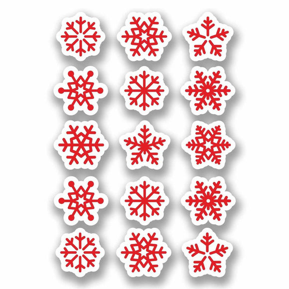 A4 Sheet 15 x Red Snowflake Vinyl Stickers Christmas Window Decoration #9700
