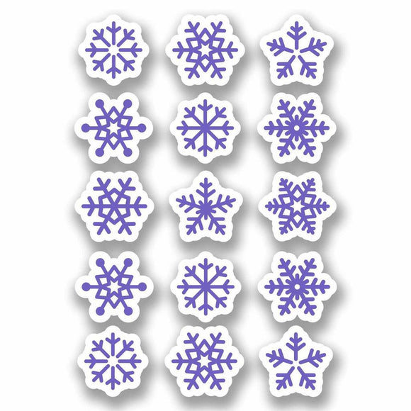 A4 Sheet 15 x Purple Snowflake Vinyl Stickers Christmas Window Decoration #9701