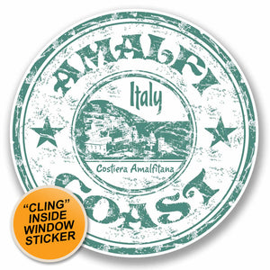 2 x Amalfi Coast Italy WINDOW CLING STICKER Car Van Campervan Glass #9705