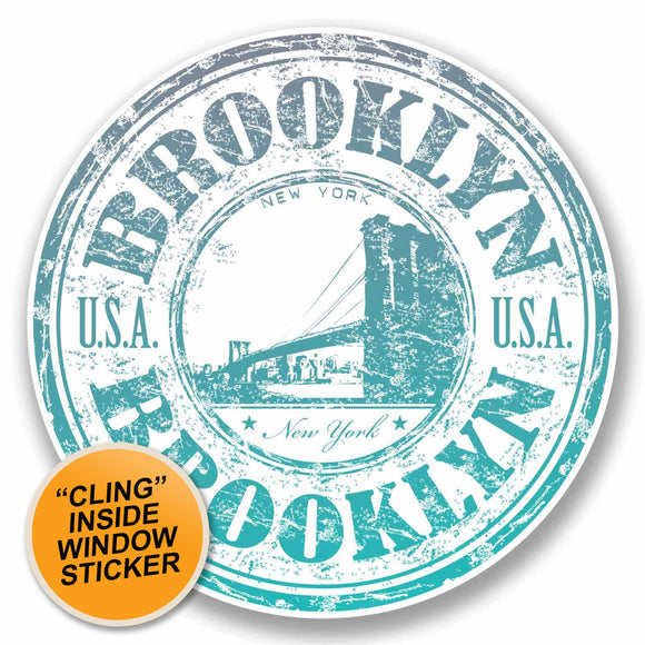 2 x Brooklyn New York WINDOW CLING STICKER Car Van Campervan Glass #9713