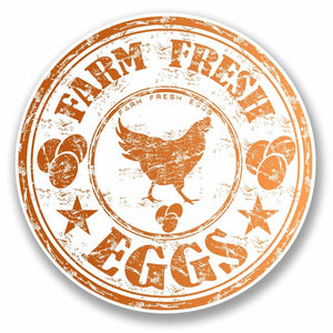 2 x Farm Fresh Eggs Chicken Vinyl Sticker #9715