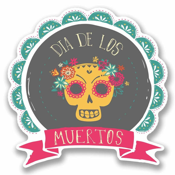 2 x Day of The Dead Sugar Skull Vinyl Sticker #9718