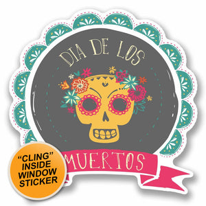 2 x Day of The Dead Sugar Skull WINDOW CLING STICKER Car Van Campervan Glass #9718