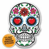 2 x Sugar Skull WINDOW CLING STICKER Car Van Campervan Glass #9720