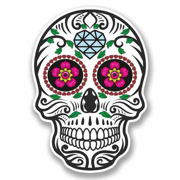 2 x Sugar Skull Vinyl Sticker #9721