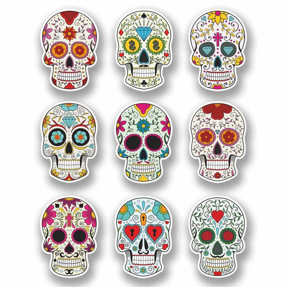 A4 Sheet 9 x Sugar Skull Vinyl Stickers Laptop Car Bike Girls Gift Mexican #9723