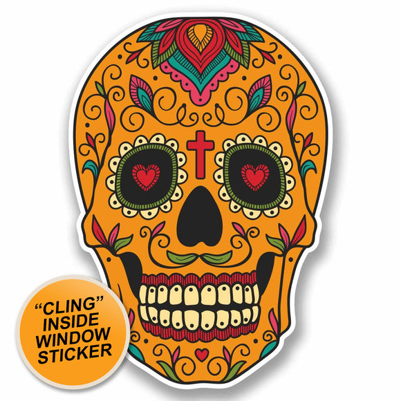 2 x Sugar Skull WINDOW CLING STICKER Car Van Campervan Glass #9724