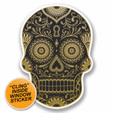 2 x Sugar Skull WINDOW CLING STICKER Car Van Campervan Glass #9725