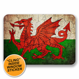 2 x Distressed Wales Welsh Dragon Flag WINDOW CLING STICKER Car Van Campervan Glass #9739