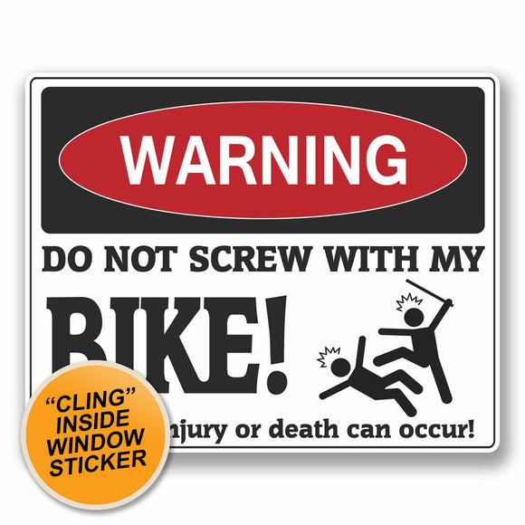 2 x Funny Warning WINDOW CLING STICKER Car Van Campervan Glass #9756