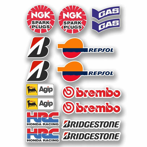 A4 Sheet - 16 x Motorbike Stickers Decals Tank Belly Pan Tool Box Biker #9758