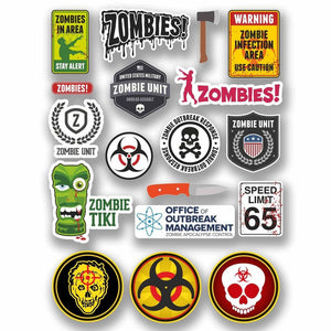 A4 Sheet 18 x Various Zombie Vinyl Stickers Biohazard Warning Dead Walking #9763