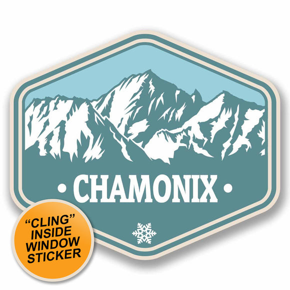 2 x Chamonix France WINDOW CLING STICKER Car Van Campervan Glass #9766