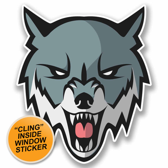 2 x Angry Husky Wolf WINDOW CLING STICKER Car Van Campervan Glass #9812