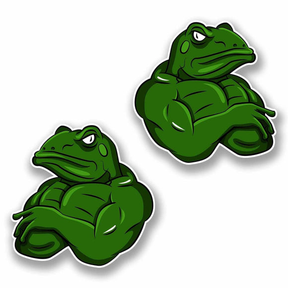 2 x Moody Muscle Frog Sticker #9814