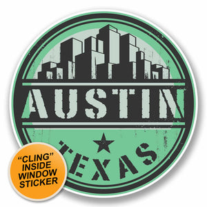 2 x Austin Texas USA WINDOW CLING STICKER Car Van Campervan Glass #9821