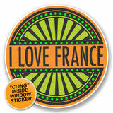 2 x I Love France WINDOW CLING STICKER Car Van Campervan Glass #9857