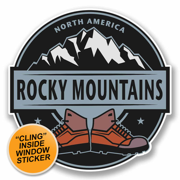 2 x Rocky Mountains WINDOW CLING STICKER Car Van Campervan Glass #9864