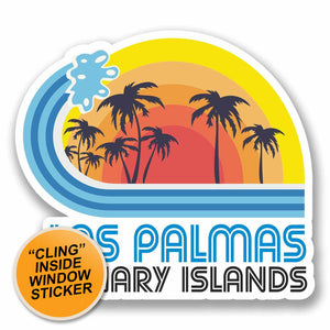 2 x Las Palmas Spain WINDOW CLING STICKER Car Van Campervan Glass #9870