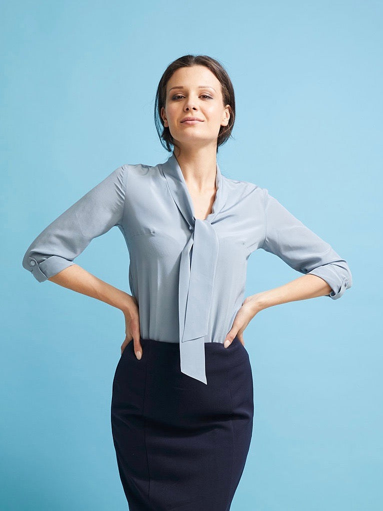 Deluxe Chemise Blouse in Duck Egg Blue Silk - Issue Clothing