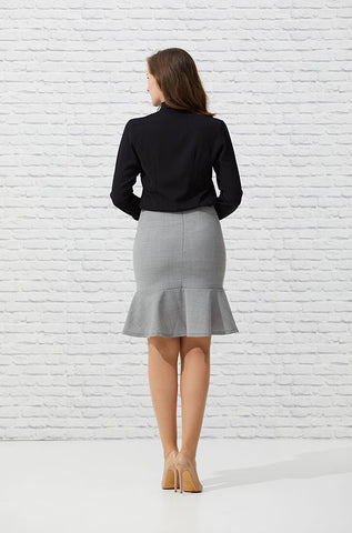 Flounced Dove Pencil Skirt - FINAL SALE