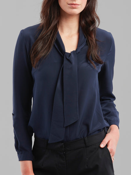 Deluxe Chemise Blouse in Navy Silk - Issue Clothing