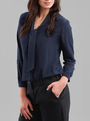 Deluxe Chemise Blouse in Navy Silk