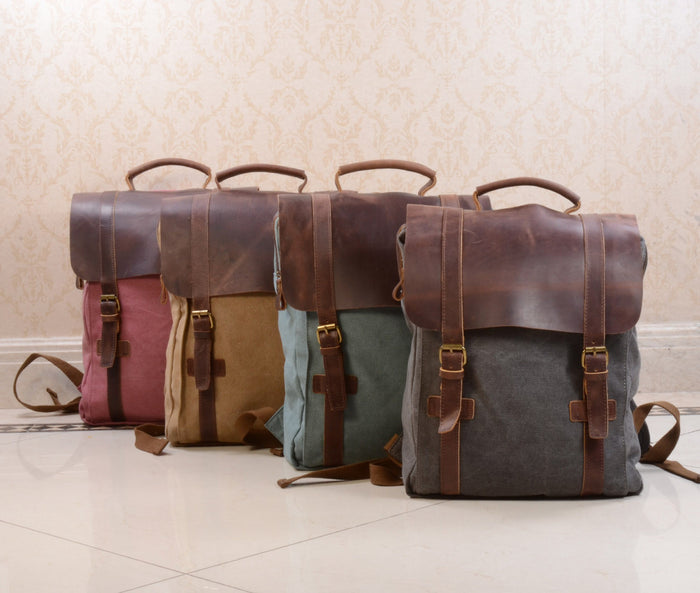 949b66a16ea Canvas and Leather Backpack