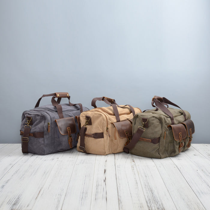 cfe8b4b8183 Canvas And Leather Military Style Holdall Bag