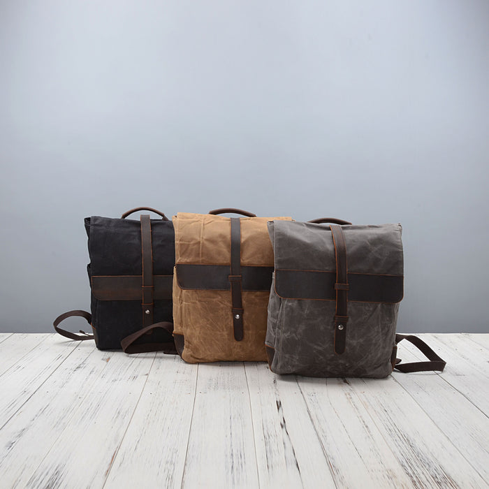 8f1707ab2 Front Leather Strap Waxed Canvas Backpack