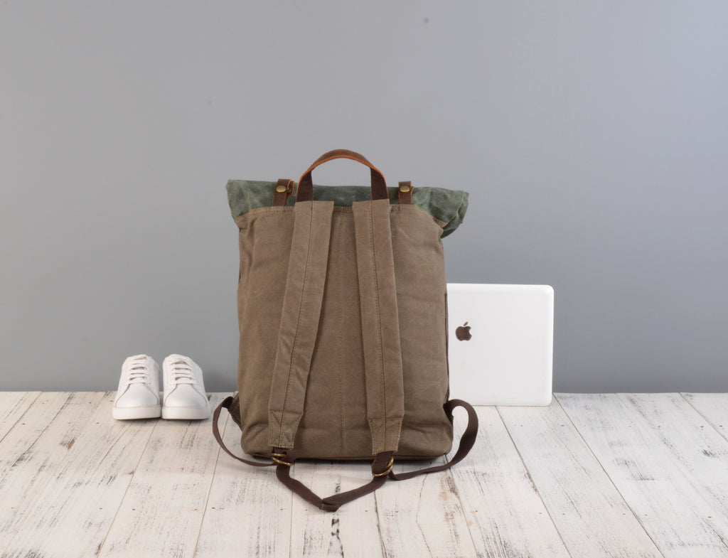 5cccfb24a Roll top waxed canvas and leather backpack – EAZO
