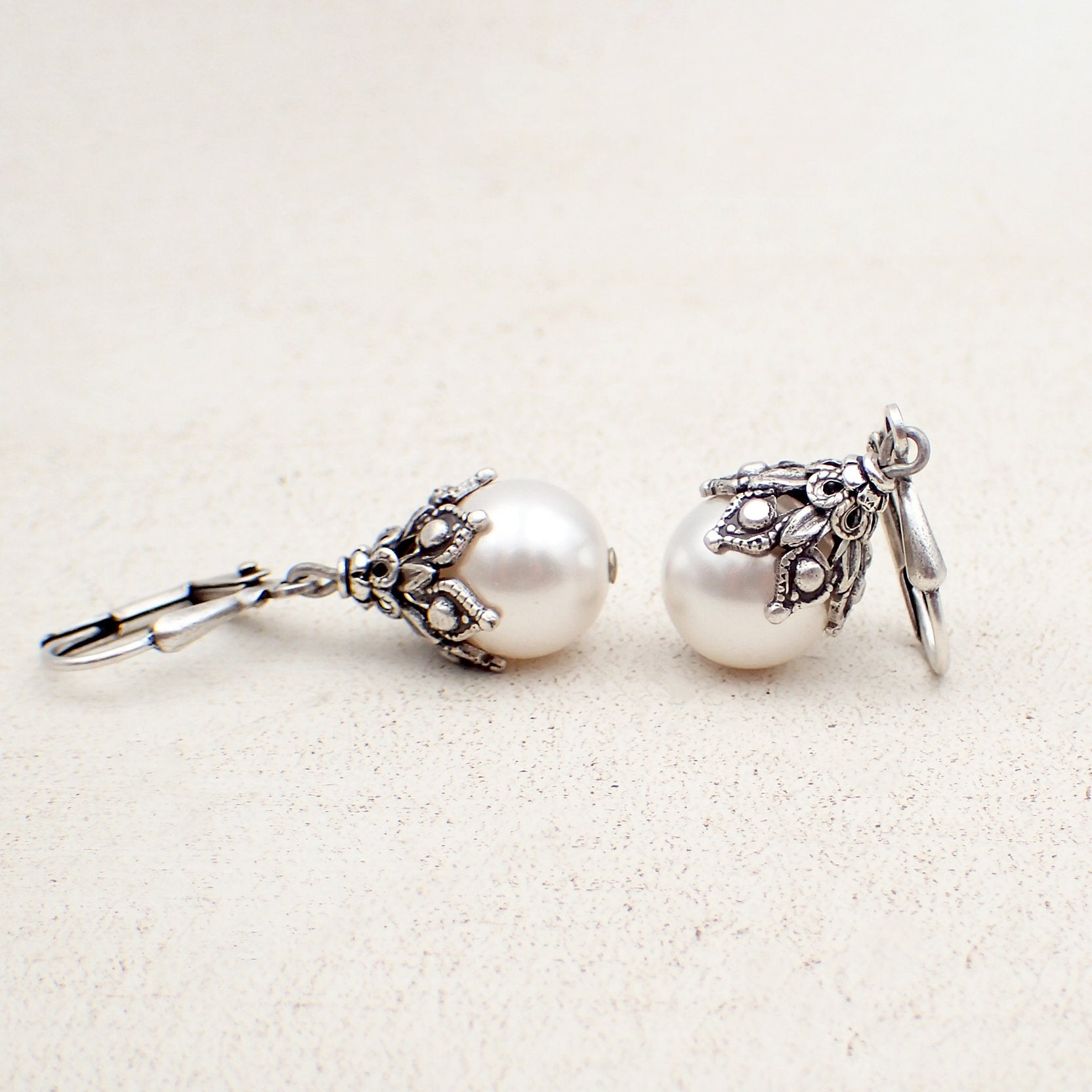 Victorian Style Earrings made with White Swarovski Pearls and Antiqued Silver Filigree