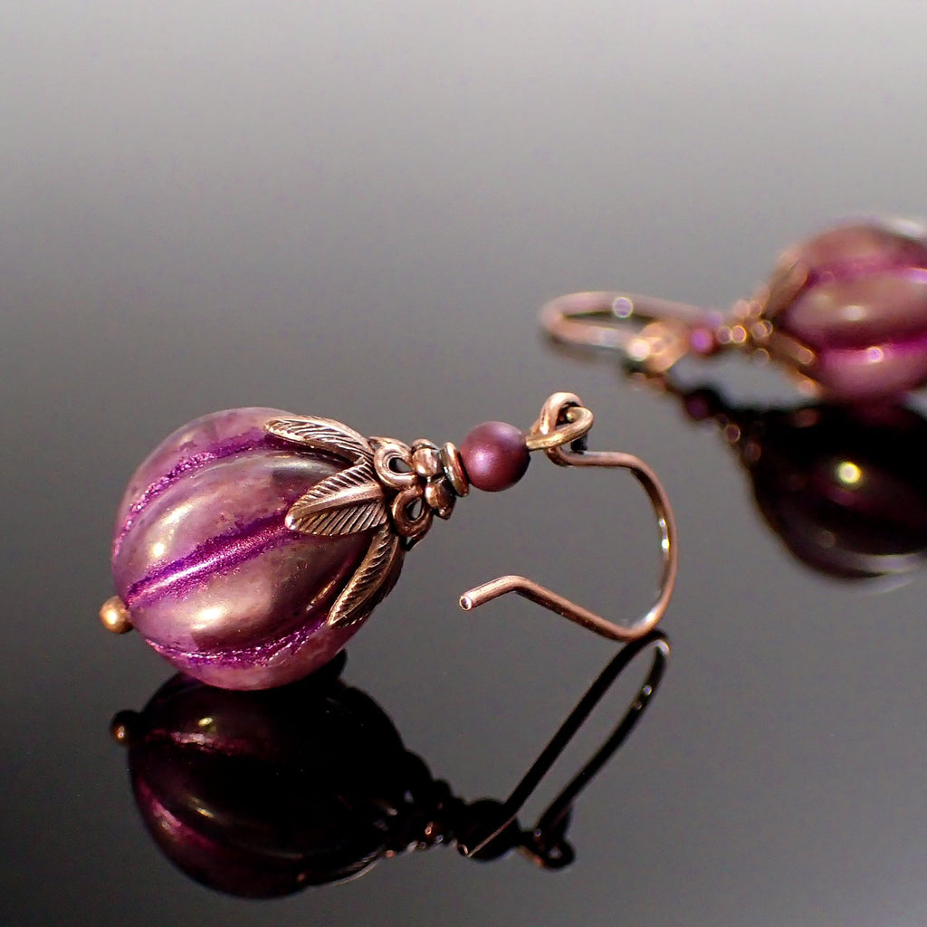 Purple Artisan Czech Glass Melon Bead Earrings with Antiqued Copper