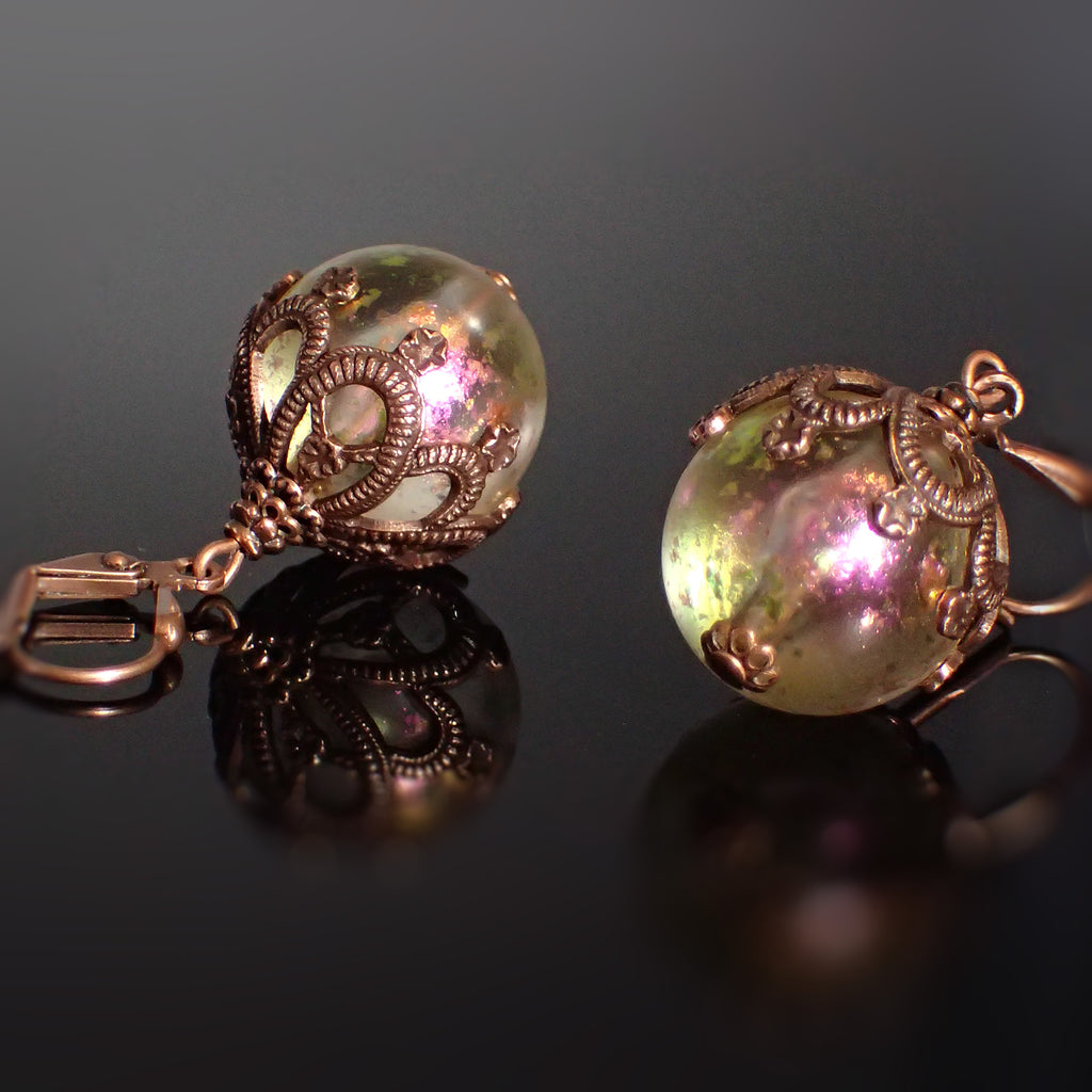 Iridescent Bead Earrings Pink and Green with Victorian Style Antiqued Copper Floral Filigree