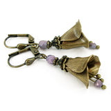 Vintage Style Brass Flower Earrings view 2