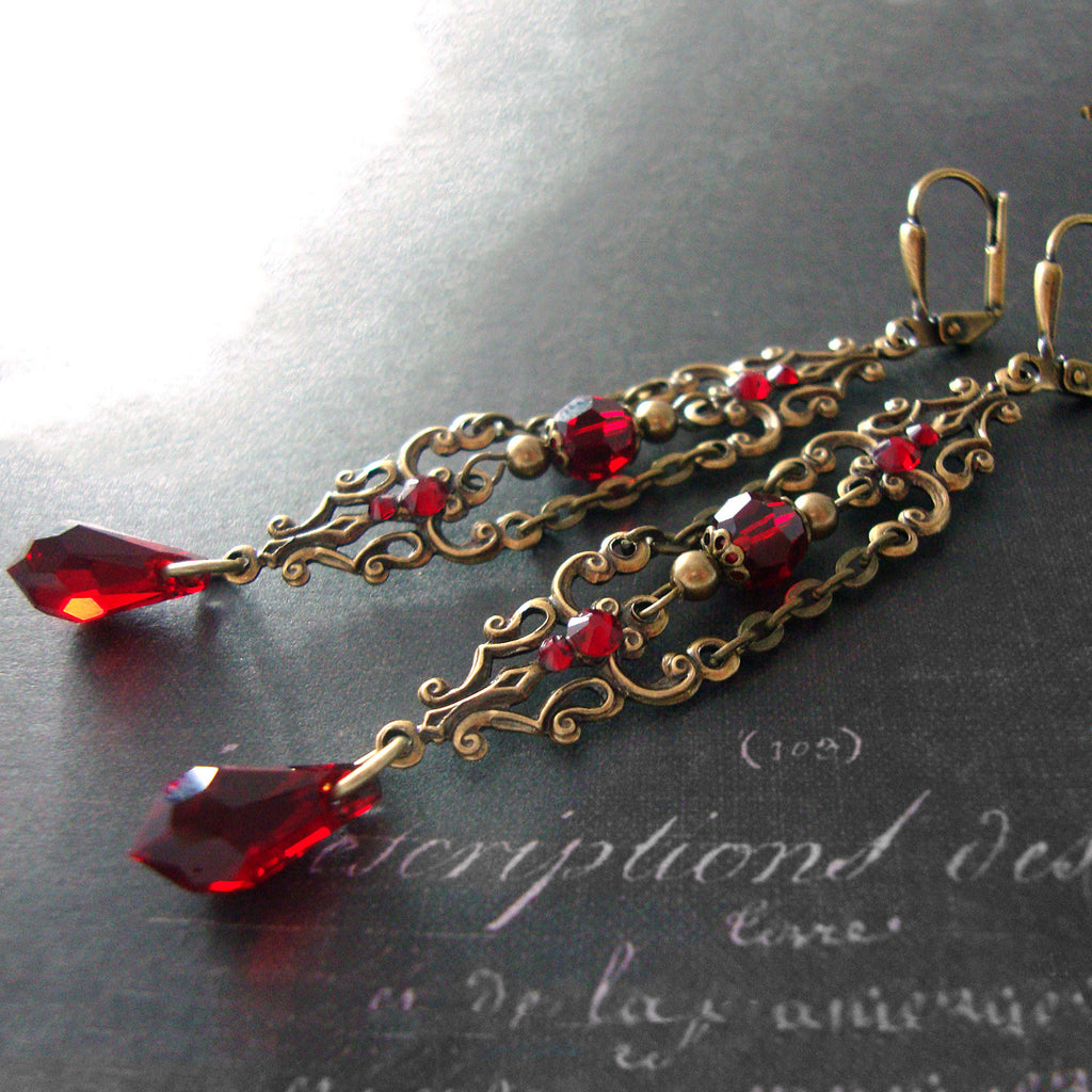 Victorian Vampire Earrings with Swarovski Crystals