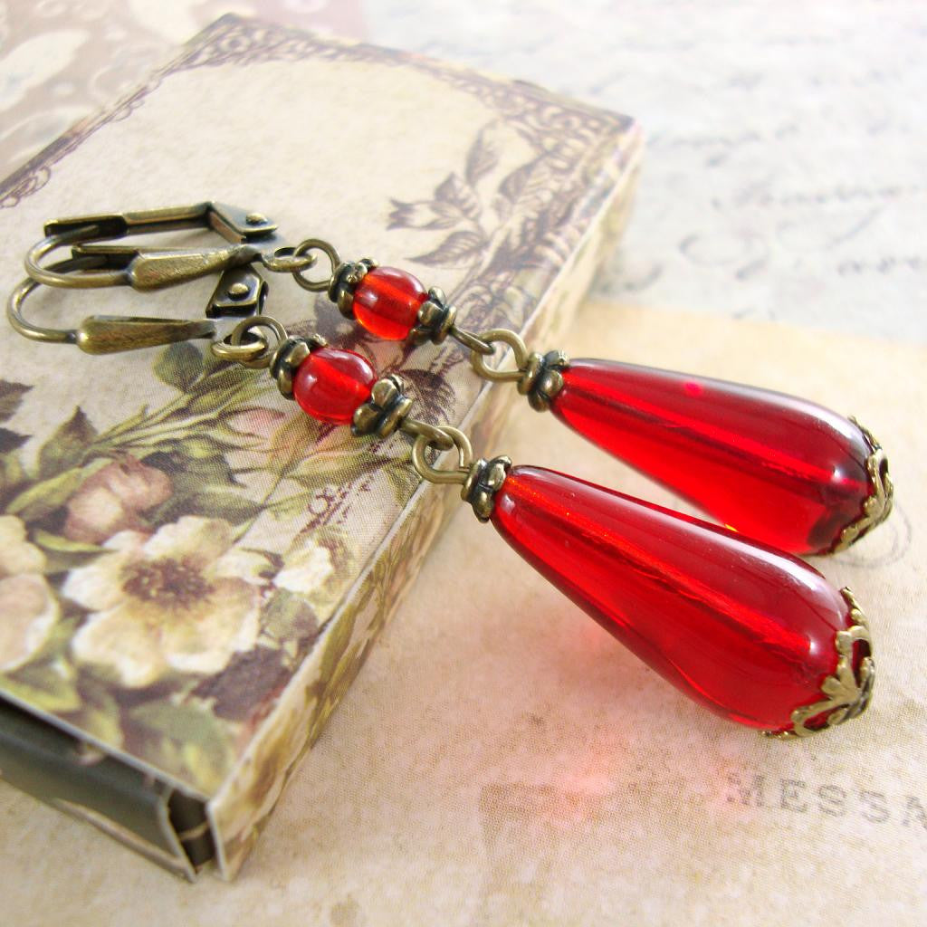 Romantic Red Victorian Teardrop Earrings