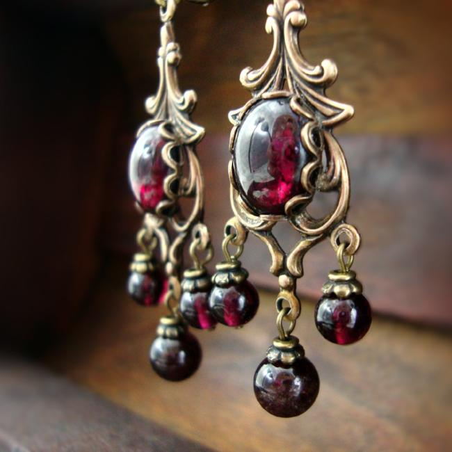 Victorian Style Natural Garnet Cabochon Chandelier Earrings