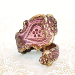 Antiqued Pink Victorian Spoon Ring
