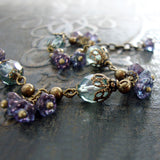 Sage and Lavender Vintage Style Flower Bracelet view 3